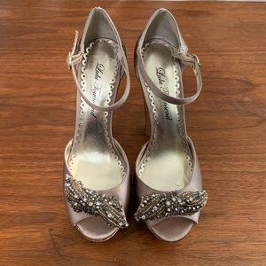 Lulu Townsend Platform Open Toe Glitter Heels